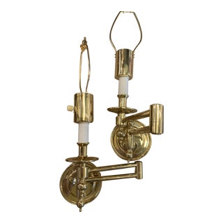 Vintage Hinson Brass Swing Arm Wall Sconces - a Pair For Sale