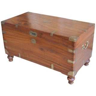 Late 19th Century British Campaign Camphor Sea Chest For Sale