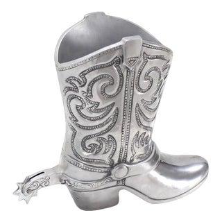 Large Cast Metal Western Boot Vase For Sale