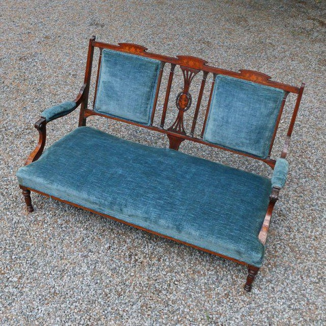 Edwardian Edwardian Inlaid Mahogany Settee With Blue Upholstery, Needs Restoration For Sale - Image 3 of 8