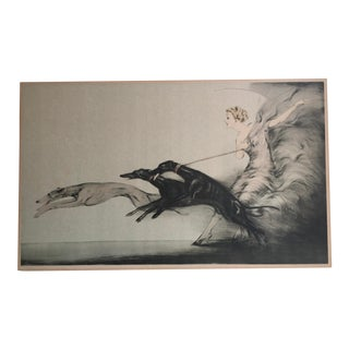 """1933 Art Deco Louis Icart """"Speed"""" Hand Signed Colored Etching For Sale"""
