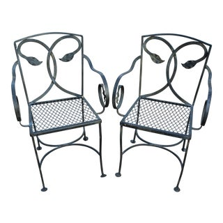 20th Century Boho Chic Wrought Iron Garden Chairs - a Pair For Sale