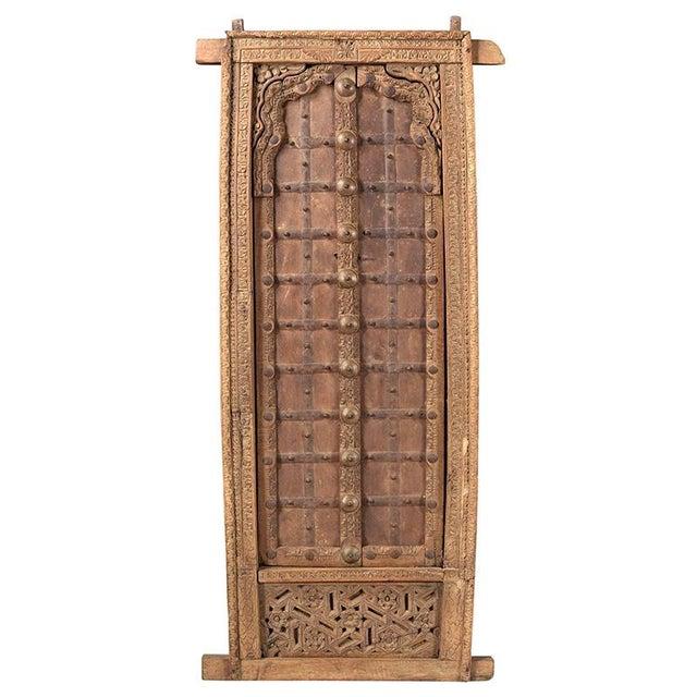 Antique Hand Carved Arched Door With Iron Straps Brass Pins| Indian Carved Door| Old Door Repurposed Wall Art| Rustic Door| Spanish Door For Sale In Houston - Image 6 of 6