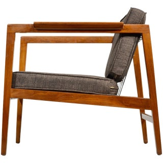 Rare Edward Wormley Walnut Open-Arm Lounge Chair For Sale