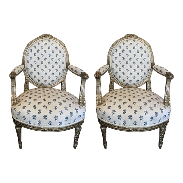 19th Century French Louis XVI Style Giltwood Fauteuils For Sale