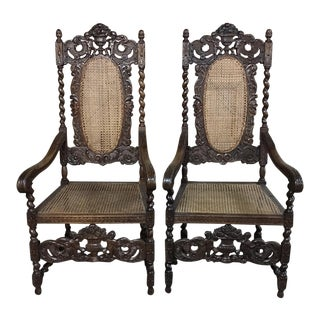 19th CenturyRenaissance Hand Carved Oak & Caned Armchairs - a Pair For Sale