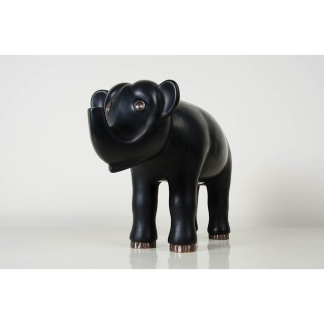 Robert Kuo Hand Repousse Black Lacquer Elephant by Robert Kuo, Limited Edition For Sale - Image 4 of 7