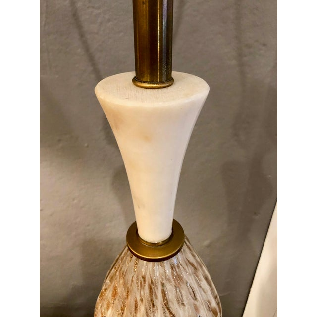 Mid-Century Modern Mid Century Italian Murano Glass and Alabaster Table Lamp in the Style of Marbro For Sale - Image 3 of 13