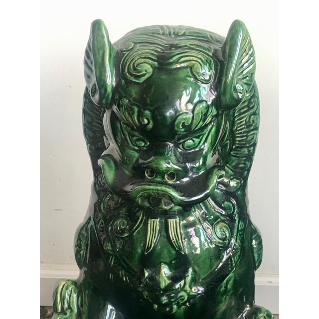 Asian 1950s Vintage Emerald Green Vintage Foo Dog Garden Statues - Pair For Sale - Image 3 of 8