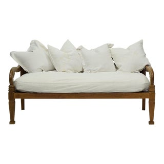 Indonesian Hand Carved Teak Daybed For Sale