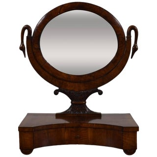 Italian Neoclassical Walnut One Drawer Dressing Mirror For Sale