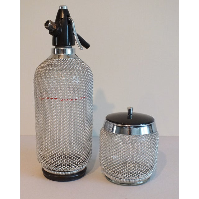 Vintage Wire Mesh Siphon Bottle & Ice Bucket -Pair - Image 2 of 11
