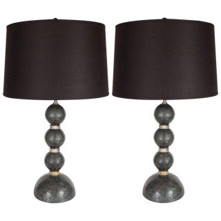 Modernist Handblown Murano Table Lamps in Smoked Gunmetal