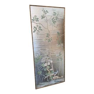 De Gournay Portabello Silver Leaf Framed Panel in Gilt Bamboo Frame For Sale