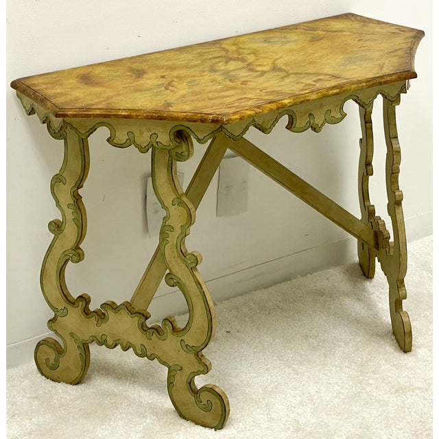 Chelsea House Inc Chelsea House Faux Marble Venetian Style Console Table For Sale - Image 4 of 8