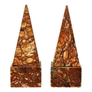 Vintage Italian Sienna Marble Obelisk Bookends, H 8.5 In. - a Pair For Sale