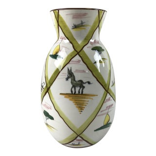 1960s Italy Donkey and Farmer Painted White Pottery Vase