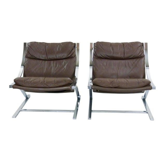Paul Tuttle 1960s Brown Leather Zeta Chairs - Pair - Image 2 of 10