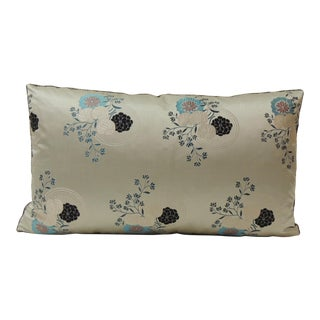 Grey and Blue Japanese Silk Floral Obi Decorative Bolster Pillow For Sale
