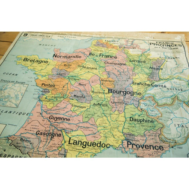 "The seller says: ""What appears to be an early edition circa 1910-1920 antique pull down map of France by well-known Vidal..."