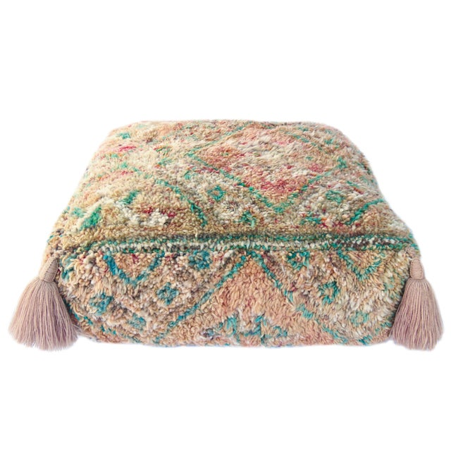 Vintage Mid Century Honey and Green Moroccan Pouf For Sale - Image 4 of 8