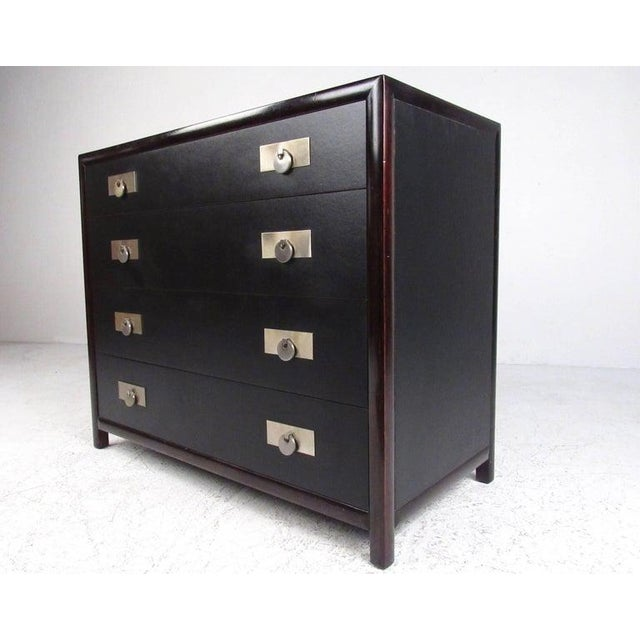 This stylish pair of vintage modern dressers make a unique addition to any interior, featuring Michael Taylor design for...