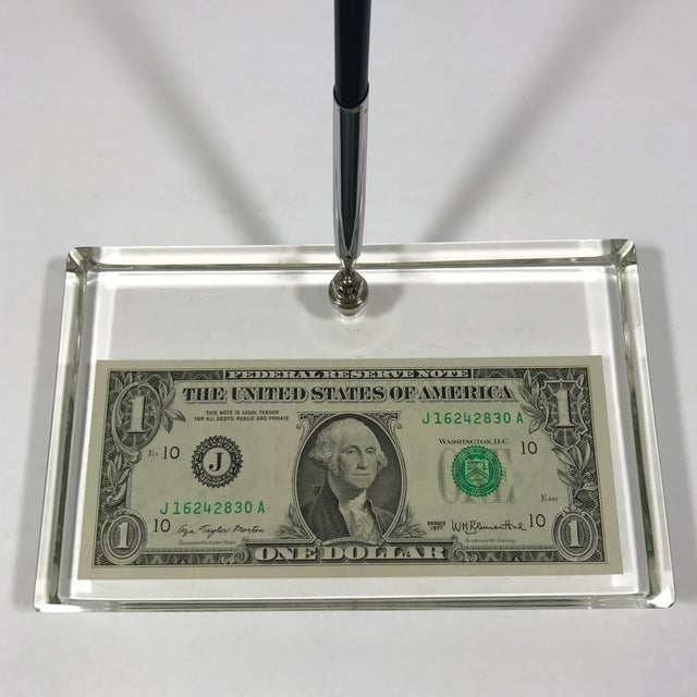 Vintage Dollar Bill Lucite Pen Holder - Image 11 of 11