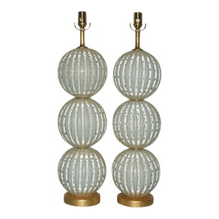 White & Gold Murano Glass Lamps For Sale
