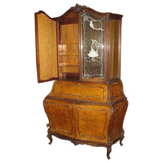 20th Century Burl Walnut Bombe Secretary Bookcase With Etched Glass Doors For Sale