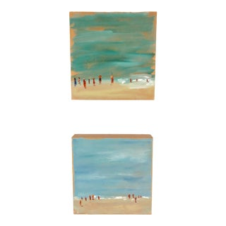 Impressionist Beach Scene Oil Paintings - a Pair For Sale