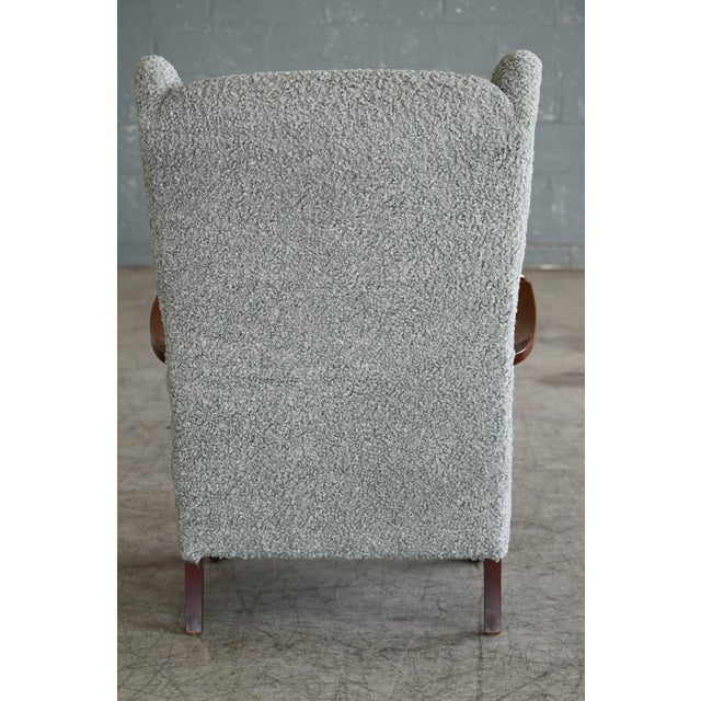 Fritz Hansen Model 1582 Wingback Lounge Chair in Grey Boucle Danish Midcentury For Sale - Image 12 of 13