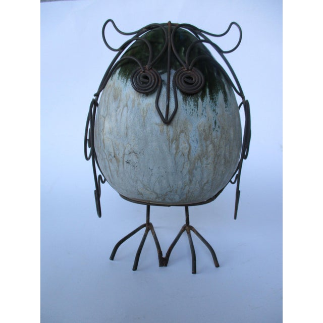 Ceramic Glazed Owl on Wire Stand - Image 8 of 10