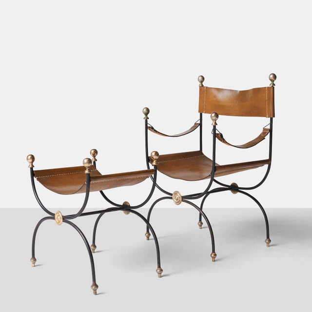 Jacques Adnet safari chair and ottoman set - Image 2 of 8