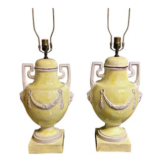 Italian Majolica Urn Lamps in Pale Yellow, C. 1960s - a Pair For Sale