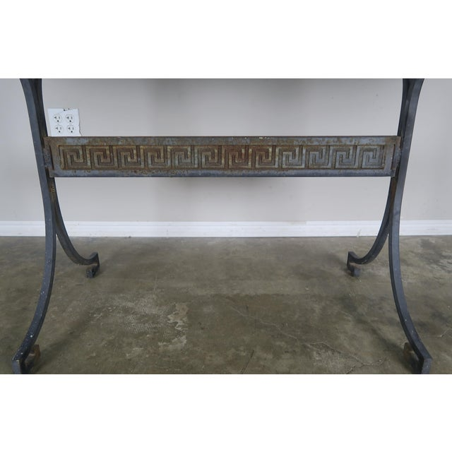 Italian Greek Key Iron and Marble Bistro Table, Circa 1940 For Sale - Image 3 of 10