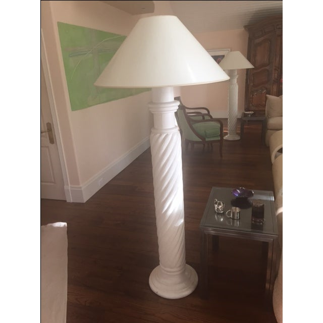 In the manner of Michael Taylor Design, white plaster spiral floor lamp including shades. There are three (3) available....