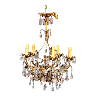 French 5-Light Gilt Metal and Crystal Chandelier With Porcelain Roses For Sale