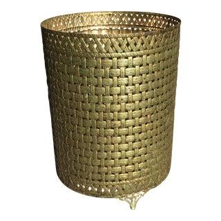 1950s Vintage Gilt Metal Woven Waste Basket For Sale