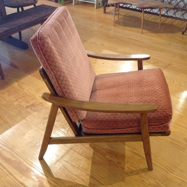 Vintage Mid-Century Oak & Burnt Orange Arm Chair - Image 3 of 9
