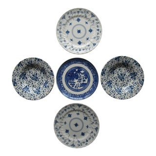 Blue & White Transfer-Ware Plates/Bowls- 5 Pieces For Sale