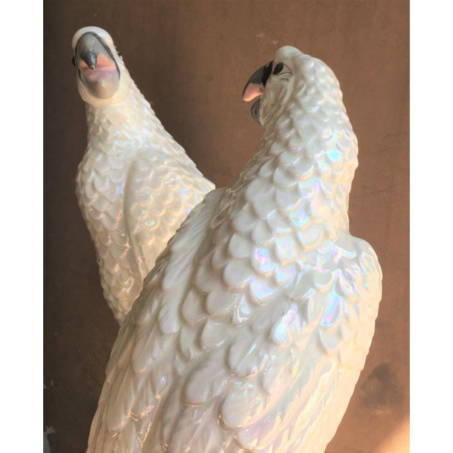 Mid-Century Italian Parrots with a White Iridescent Glaze - A Pair For Sale In Miami - Image 6 of 10
