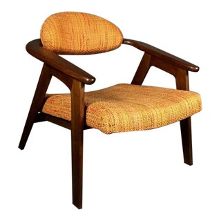 Adrian Pearsall Walnut Captain's Chair, Original Fabric, Craft, USA, 1950s