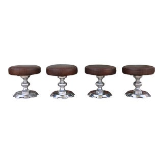 1970's Set of 4 Leather and Aluminum Low Stools