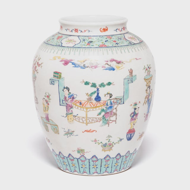 Asian Early 20th Century Chinese Wucai Jar For Sale - Image 3 of 6