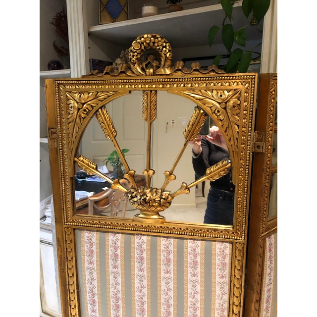 Gold French Neoclassical Revival Giltwood Mirror and Upholstered 3-Panel Screen For Sale - Image 8 of 13