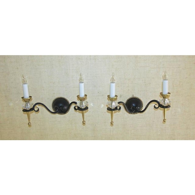 1930s Art Deco Brass Crystal and Painted Iron Sconces - a Pair For Sale - Image 4 of 11