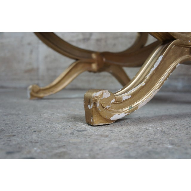 Vintage French Empire Regency Style Gold Vanity Stool For Sale - Image 12 of 13
