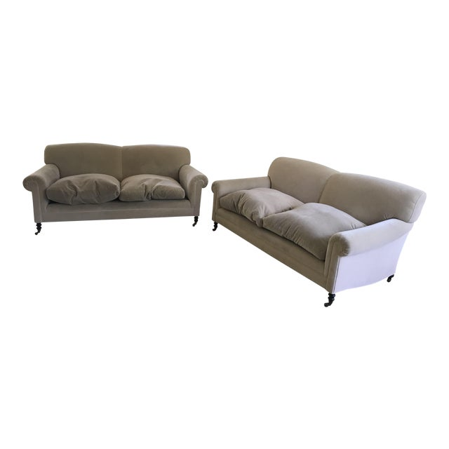 """George Smith """"Full Scroll Arm Signature Sofas"""" - A Pair For Sale"""