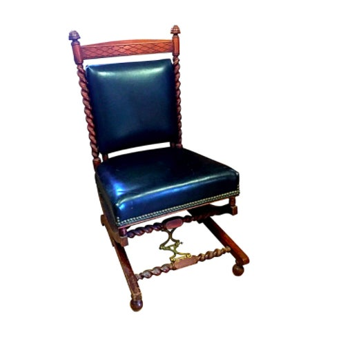 1880s Sliding Rocking Chair, Leather & Wood Victorian Furniture - Image 2 of 5