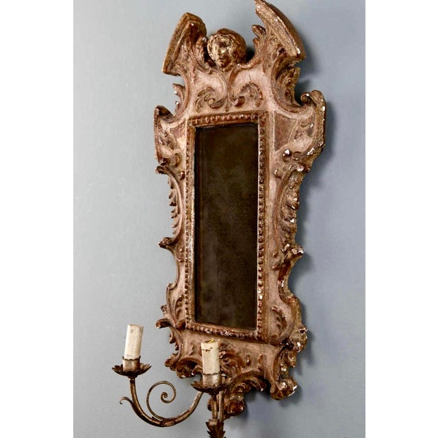 19th Century Italian Sconces With Carved Mirror and Gilt Gesso Frames - A Pair For Sale - Image 4 of 7
